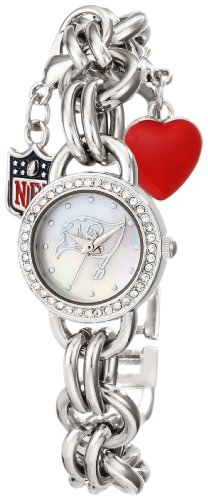Game Time Women's NFL-CHM-TB Charm NFL Series Tampa Bay Buccaneers 3-Hand Analog Watch at Amazon.com