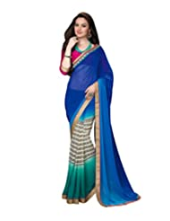 Admyrin Multi Colour Georgette Saree With Pink Georgette Blouse