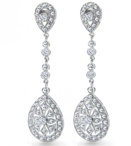 Bling Jewelry Bridal Art Deco CZ Teardrop Chandelier