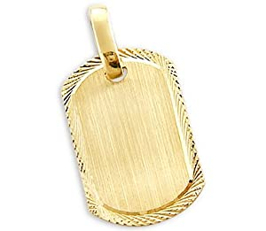14k Yellow Gold Name Plate Dog Tag Collar Charm Pendnat