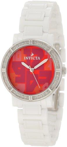 Invicta Women's 10275 Ceramic Diamond Accented Red Dial White Watch