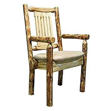 Glacier Country Captain's Chair with Upholstered Buckskin Pattern Seat