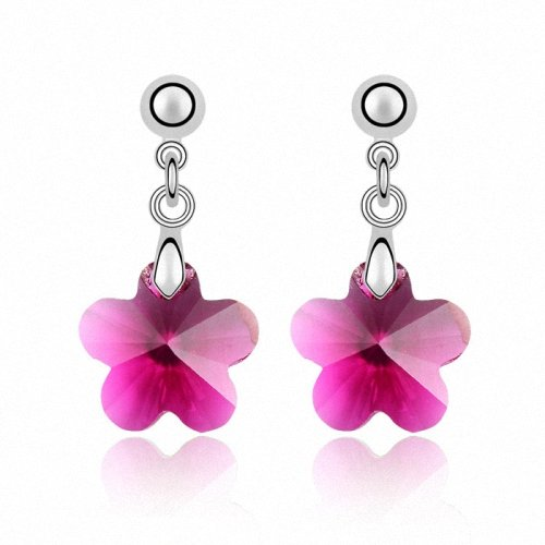 TAOTAOHAS- [ Search Name: Grace of Plum ] (1PAIR) Crystallized Swarovski Elements Austria Crystal Earrings, Made of Alloy Plated with 18K True Platinum / White Gold and Czech Rhinestone