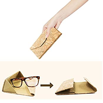 Eyeglasses Case, ASAPS Vintage Foldable Eyeglasses Case (Wood Sawdust)