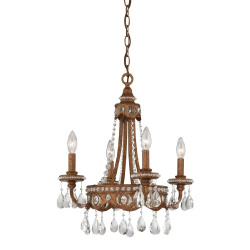 Quoizel QMC404BO 4-Light Mini Chandelier, Bolivian Bronze with Crystal Drop Accents