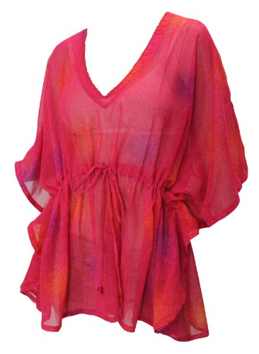 La Leela Pink Color Chiffon Beach Tunic Cover up