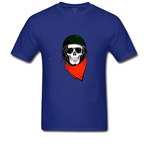 [skeleton pirate costume Men'sDouble Dry Performancepirate skull T Shirt L Royal Blue] (Homemade Pirate Ship Costumes)