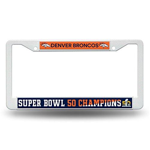 nfl-denver-broncos-super-bowl-50-champions-plastic-plate-frame12-inch-by-6-inchwhite