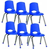 """ECR4Kids School Stack Chair with Chrome Legs/ Ball Glides, 14"""", 6-Pack, Blue"""