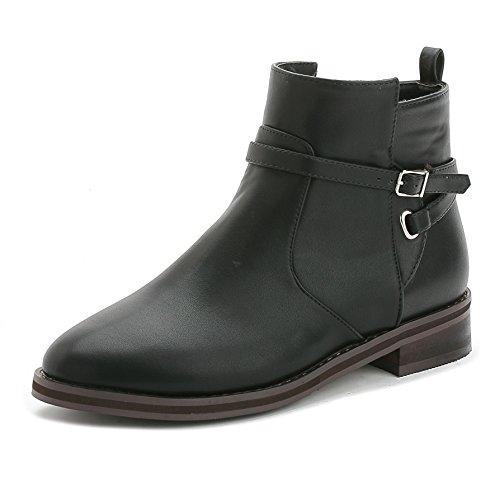 Europa inverno stivali scarpe donne avvio piatte Martin contro le sovratensioni più corto tubo di velluto e nudo stivali stivali flat , black , 37