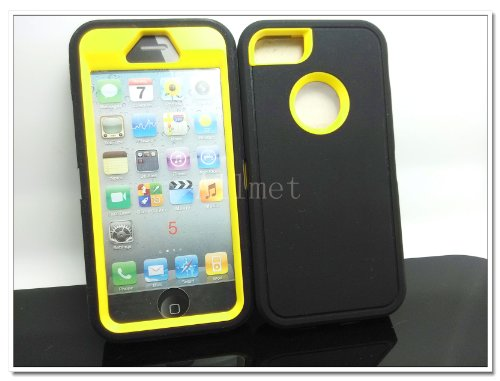 #!  Multi Color Iphone 5 5S Body Armor Silicone Hybrid Cove Hard Case, Three Layer Silicone PC Case Cover for iPhone 5 5S (Black+Yellow)