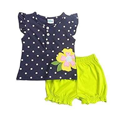 AJia Baby Girls Clothing Sets Embroidered Shirt and Shorts Outfits