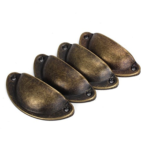 NUOLUX 4pcs Vintage Decorative Door Drawer Pull Handle Iron Semicircle Knobs (Bronze) (Vintage Drawer Knobs And Pulls compare prices)