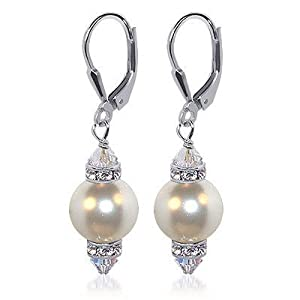 "SCER155 10mm White Pearl And Crystals Silver Leverback 1.5"" Long Drop Earrings MADE WITH SWAROVSKI ELEMENTS"