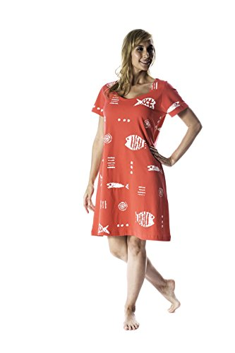 "M.Mac's Missy ""Rock Fish"" Poolside Knee Length Dress-Coral with White Print-XL"