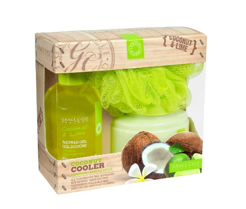Grace Cole Coconut Cooler Set 170ml Shower Gel, 200ml Body Lotion & Body Puff
