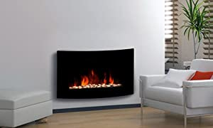 Large 2kW Black Glass Screen Wall Mounted Fireplace by LIME SHOP