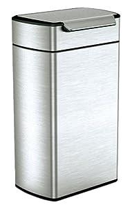 simplehuman Rectangular Touch-Bar Trash Can, Stainless Steel, 40 L / 10.5 Gal