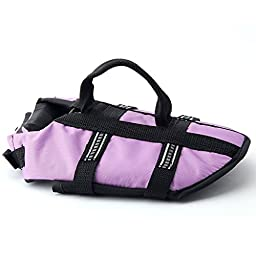 Funkeen Dog Life Jacket Aquatic Pet Safety Preserver Vest with Reflective Tape for Small Medium Dogs (Small, Purple)