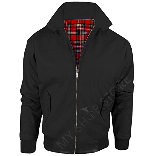 New Adults British Made Harrington Jacket Coat Bomber Classic 1970's Vintage Retro Mod Skin Scooter Tartan Lining Black 4XL