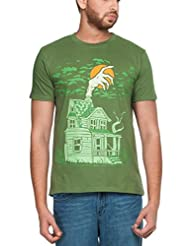 Zovi Men's Cotton Idle Hand Cactus Green Graphic T-shirt (00099529601)