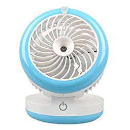 LOHOME® USB Humidifier Fan Carry Mobile Power Function, Mini Portable Spray Beauty Desk Fan Handheld Rechargeable Cooling Misting Fan Mute Small Air Conditioning for Sport Home Office Travel (Blue)