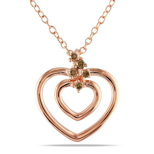 Pink Silver 0.07 CT TDW Brown Diamond Heart Pendant with Chain