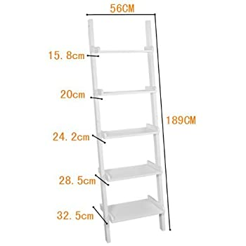 Haotian Leaning Ladder Book Shelf Made of Wood with Five Floors, Bookcase, wall shelf, 56x189cm FRG17-W,white