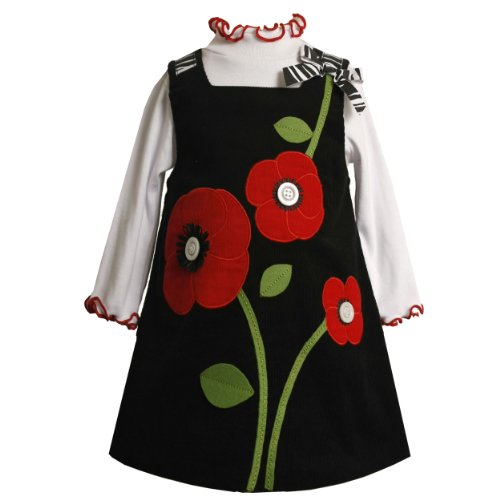 Size-2T BNJ-9927B 2-Piece BLACK RED DROPPED BUTTON-FLOWER APPLIQUE CORDUROY JUMPER Girl Dress Outfit/Set,B29927 Bonnie Jean TODDLERS