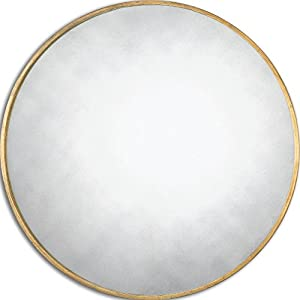 Thin frame gold round wall mirror classic for Thin wall mirror
