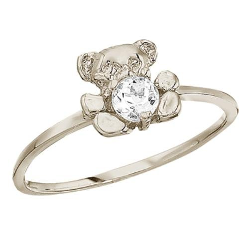 10K White Gold April Birthstone Baby Teddy Bear and White Topaz Ring