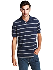 Pure Cotton Birdseye Striped Polo Shirt