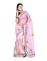 Ansu Fashion Lovely Light Pink Colour Net Saree