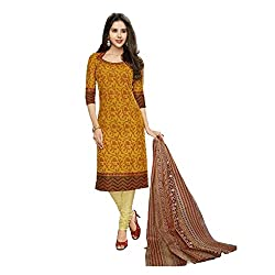 Stylish Girls Orange Cotton Dress Materials