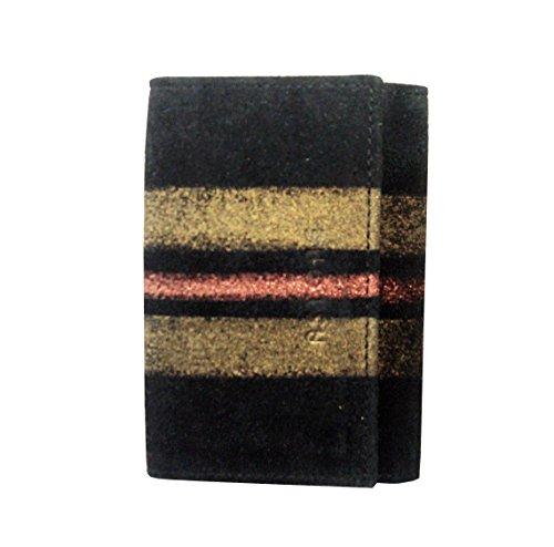 ASTORE - Portachiavi donna, linea acquerello, in vera pelle dipinta a mano,camoscio nero e righe oro