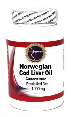 Norwegian Cod Liver Oil Concentrate (Emulsified Dry) 1000Mg 100 Capsules # Biopower Nutrition