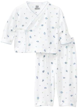 Noa Lily Baby-Boys Newborn Turtle Print Kimono Set, White, 9 Months