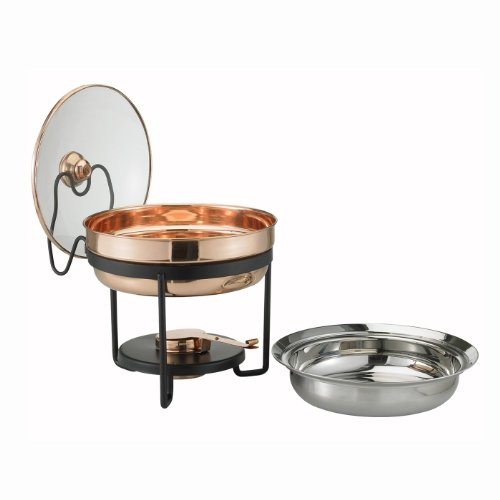 Décor Copper Chafing Dish with Glass Lid, 2.5 Quart, 11 In. x 11 In. x 11.25 In.