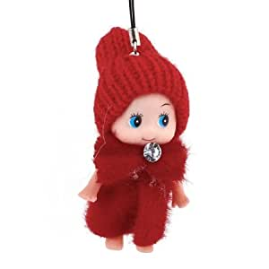 Acrylic Red Woolen Yarn Hat Hanging Doll Pendant for Cellphone Strap