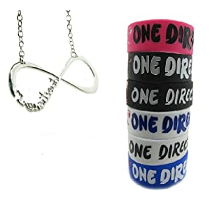 One Direction 6 Pcs Bracelet Wristband with 1 Pcs Infinity Directioner Necklace from Molie