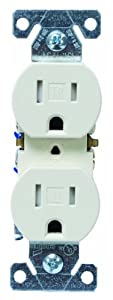 Cooper Wiring Devices TR270A-BOX Tamper Resistant Duplex Receptacle with 15-Amp, 125-Volt, NEMA 5-15, Almond