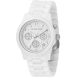 Michael Kors MK5161 - Reloj cronógrafo de cuarzo para mujer con correa de cerámica, color blanco