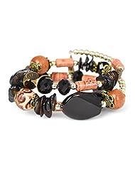 Fayon Weekend Casual Black Multilayer Wood Beads Bohemian Bracelet