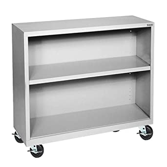 "Sandusky Lee BM10361830-05 Dove Gray Steel Mobile Bookcase, 1 Adjustable Shelf, 200 lb. Per Shelf Capacity, 36"" Height x 36"" Width x 18"" Depth"