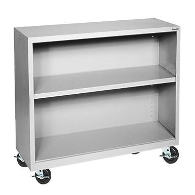 "Sandusky Lee BM10361830-05 Dove Gray Steel Mobile Bookcase, 1 Adjustable Shelf, 200 lb. Per Shelf Capacity, 36"" Height x 36"" Width x 18"" Depth"