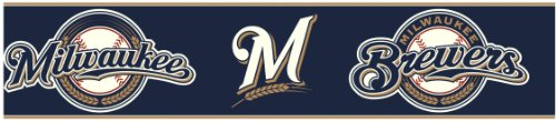 York Wallcoverings Zb3379Bd Milwaukee Brewers Prepasted Border, White/Wheat Brown front-324836
