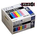 【Luna Life】 エプソン用 IC6CL80L 互換インクカートリッジ ブラック1本おまけ付き 7本セット 高品質 経済的 安心の1年保証 LN EP80/6P BK+1