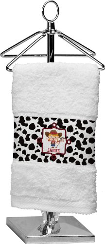 Cowprint Cowgirl Personalized Finger Tip Towel front-692381
