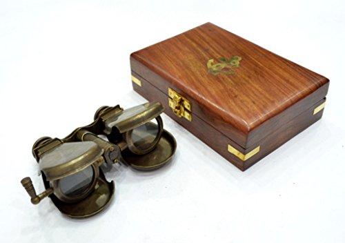 The New Antique Store Folding Binocular Brass in Wood Box
