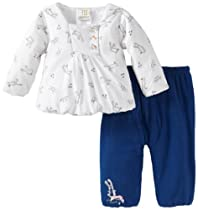 ABSORBA Baby-Girls Newborn Love Footed Pant Set, White/Navy, 3-6 Months